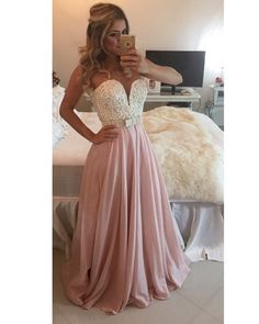 2018 Pearls Chiffon Prom Dresses Sweetheart Neck Sheer Open Back Long Formal Evening Gowns Dresses Dresses_Special Occasion Dresses_Buy High Quality Dresses from Dress Factory Grad Dresses, Dance Dresses, Ball Dresses, Dresses For Teens, Homecoming Dresses, Ball Gowns, Bridesmaid Dresses, Formal Dresses, Dress Prom