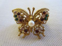 Butterfly Scarf Clip Colored Rhinestones Center Pearl Cabochon