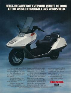 Honda Helix- optional am/fm stereo. Vespa Motorbike, Scooter Bike, Moto Bike, Honda Scooters, Motor Scooters, Vespa 300, Engine Working, Scooter Design, Vintage Cafe Racer