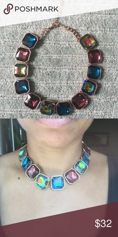 Jewel Toned Statement Necklace Multicolored jewel tones statement necklace. Adjustable closure. Like new condition! Bauble Bar Jewelry Necklaces