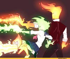 Heats Flamesman, Fuku Fire, and Grillby