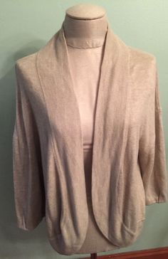L Ann Taylor Loft Tan Rabbit Hair Blend Open Cardigan 3/4 sleeve Very Soft #AnnTaylorLOFT #Cardigan