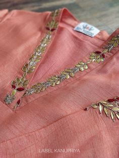 Peach Gota Patti V-neck Kurta Salwar Neck Designs, Neck Designs For Suits, Kurta Neck Design, Back Neck Designs, Kurta Designs Women, Designs For Dresses, Dress Neck Designs, Blouse Designs, Embroidery On Kurtis
