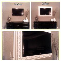 Crown Molding + Base boards= my new TV Frame. Mounted TV frame. Picture frame tv. DIY tv frame.