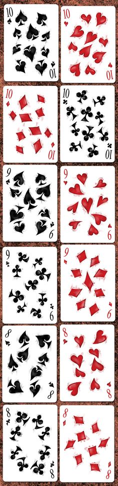 10♠ 10♥ 10♦ 10♣ 9♠ 9♥ 9♣ 9♦ 8♠ 8♥ 8♣ 8♦ Bicycle Disruption Playing Cards by Collectable Playing Cards — Kickstarter