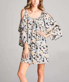 This Black & Gray Rose Print Cold Shoulder Dress is perfect! #zulilyfinds