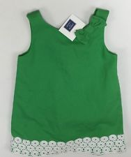"Janie And Jack Dress ""South Beach Beauty"" Eyelet Trim 12-18 Months LBFO NEW"