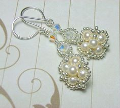 Instant Download TUTORIAL Jewelry Tutorials Earrings- Beaded Cream Pearl and Silver Earrings  No 44