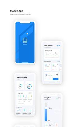Free Ui Kit - Smart Home App - UpLabs Android App Design, Ios App Design, User Interface Design, Smart Home Design, Design Home App, Mobile Application Design, Mobile Ui Design, Ui Kit, Web Design