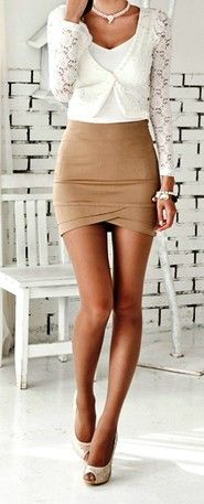 business beige chic --> I like this look but really, where do these ppl work that they can wear mini skirts lol