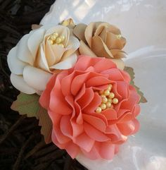 Paper Flowers - Handmade - Corsage - Weddings - Bridal Shower - Baby Shower - Customized Colors - Made To Order. $5.00, via Etsy.
