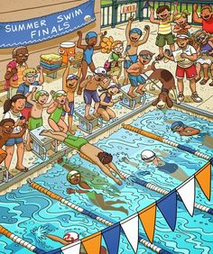 Spanish activities: Prompt to use in Spanish class or with kids learning Spanish at home. Can be used for Spanish speaking activities or Spanish writing activities. https://www.behance.net/gallery/15797179/Hidden-Picture-Swim-Relay