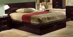 Jessica Contemporary Cappuccino Queen Platform Bed