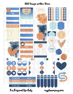 Orange & Blue Sticker Sheet Sampler | My Planner Envy