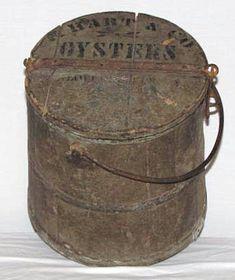 Antique 1845 AAFA Signed Wood Firkin Bucket wLid Wilder