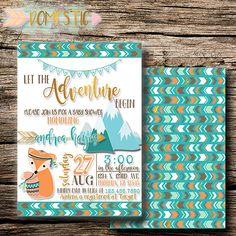 Adventure Boy Baby Shower Invitation | Fox Baby Shower Invitation |  Woodlandu2026