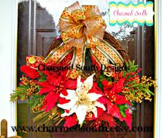 ON SALE Grapevine Christmas Poinsettia Wreath by CharmedSouth, enjoy 20% off this weekend! come visit at www.charmedsouth.etsy.com christmas wreaths, christma wreath, floral wreath, traditional christmas, poinsettia wreath, wreath design, tradit christma, grapevin christma, christma poinsettia