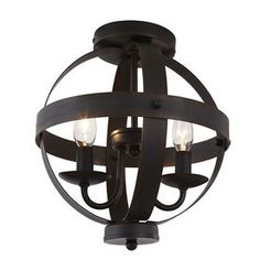 allen + roth Crossburg 10-in W Oil-Rubbed Bronze Metal Semi-Flush Mount Light