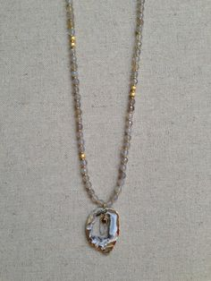 The Brazos- Grey Agate and Gold Necklace with Raw Agate Quartz Pendant by Goldenstrand Jewelry