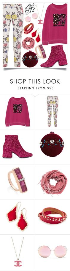"""""""Pink Flourish"""" by justinallison ❤ liked on Polyvore featuring Marc Jacobs, House of Holland, MM6 Maison Margiela, Serpui, Monica Vinader, Lost & Found, Kendra Scott, Rebecca Minkoff and Matthew Williamson"""