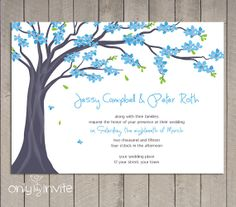 Tree Wedding Invitation Printable  Spring Blue by OnlybyInvite, $25.00