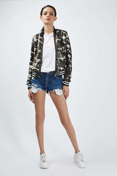 Camouflage Inspired Sequin Bomber - Topshop