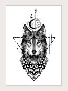 Wolf Tattoo Sleeve, Lion Tattoo, Arm Band Tattoo, Sleeve Tattoos, Fox Tattoo Men, Wolf Girl Tattoos, Wolf Tattoos For Women, Geometric Mandala Tattoo, Mandala Wolf