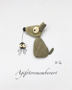 """""""The dog and the spider"""" when you just find the perfect pebbles for the design you want to make.The dog and tge spider From the depths of the ocean to the beach, these pebbles are full of secretsNo photo description available.Another cute design of li Stone Crafts, Rock Crafts, Valentine Day Gifts, Valentines, Pebble Pictures, Stone Pictures, Rock And Pebbles, Sea Glass Art, Beach Art"""