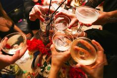 Clinking glasses and toasting. People Photos