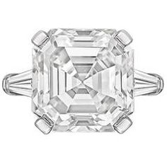 Bulgari 9.49 Carat GIA Cert Asscher-Cut Diamond Platinum Ring | From a unique collection of vintage engagement rings at https://www.1stdibs.com/jewelry/rings/engagement-rings/