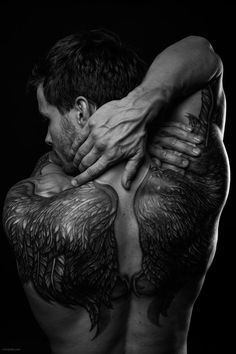 by vishstudio on DeviantArt Paranormal Romance, Deviantart, Ink, Statue, Artist, Male Body, Aesthetics, Tattoos, Sweet