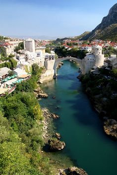 Neretva River and Stari Most in Mostar, Bosnia and Herzegovina