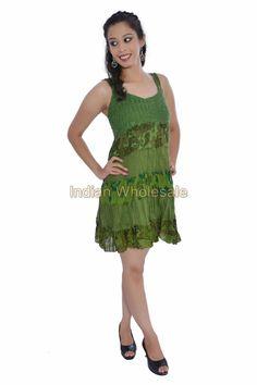Women Cotton Croatia Lace Work Mini Evening Kurti Dress Tunic Top IW15007GR #Handmade #Maxi #Casual