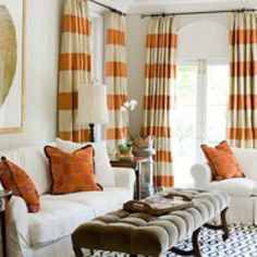 Mustard yellow and white striped curtains