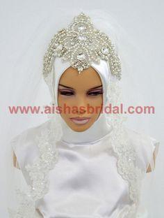 Ready To Wear Bridal Hijab  Code: HGT-0475 Muslim by HAZIRTURBAN