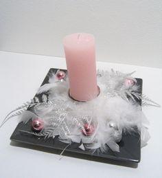 Luxusní vánoční svícen / mrazivě krásná růžová