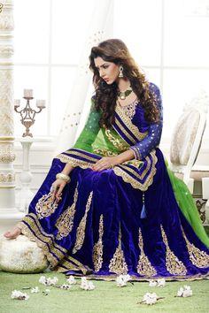 28681ac6f Exquisite Mehendi Green and Dark Blue Net and Velvet Lehenga Saree Desi  Wedding