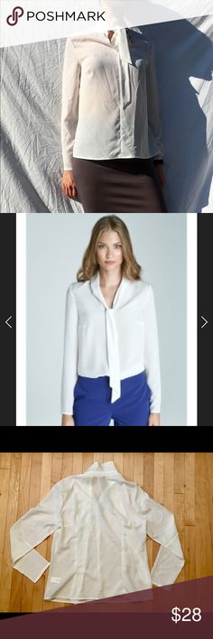 """NWT Nife Long Sleeve Blouse with tie at neck NWT This white blouse by Nife brand is gorgeous with timeless fashion and quality construction! It is brand new with tags!! Size L/40 with approximate measurements of 20"""" at the chest & 23"""" from shoulder to bottom hem. Made of 98% polyester & 2% Lycra. nife Tops Blouses"""