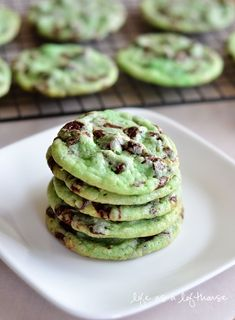 Mint Chocolate Chip Cookies:1 pouch (1 lb 1.5 oz) Betty Crocker sugar cookie mix 1/2 cup butter, softened 1/4 teaspoon peppermint extract 1 egg 6-8 drops green food color 1 cup creme de menthe baking chips 1 cup semi-sweet chocolate chips