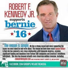 Robert F. Kennedy Jr. endorses Bernie Sanders! Amazing endorsements just keep rolling in! #Bernie2016 #feelthebern