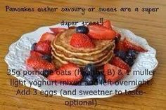 Syn free pancakes Syn Free Pancakes, Porridge Oats, Slimming World Recipes, Waffles, Meals, Breakfast, Sweet, Food, Morning Coffee