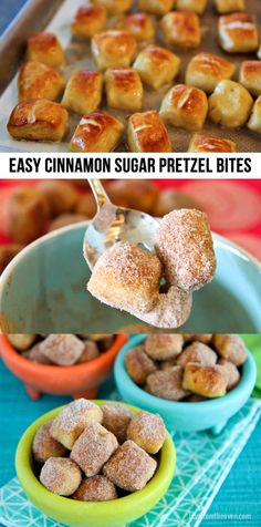 Easy Cinnamon Sugar Pretzel Bites. These are so much easier to make than I expected and they are SO good, way better than that ones we love at the mall.