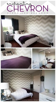 Gorgeous Chevron stenciled bedroom idea uses the Cutting Edge Stencils new chevron stencil design. Tiff's room, maybe? Home Bedroom, Bedroom Decor, Bedroom Ideas, Bedrooms, Master Bedroom, Teen Bedroom, Bedroom Colors, My New Room, My Room