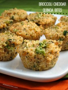 Broccoli Cheddar Quinoa Bites #WeekdaySupper - Alida's Kitchen