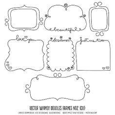 Whimsy Doodles Frames No2 Digital Stamps Clipart Clip Art Illustrations…