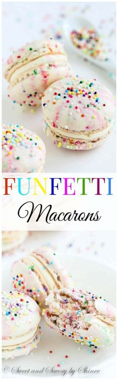 Fun and festive funfetti macarons to celebrate any special occasion. My full video tutorial will walk you through the entire process. Baking Recipes, Cookie Recipes, Dessert Recipes, Frosting Recipes, Recipes Dinner, Yummy Treats, Sweet Treats, Yummy Food, Pavlova