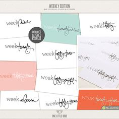 Weekly Edition Journaling Cards by One Little Bird