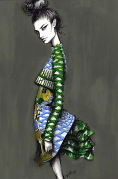 Katrantzou - fashion illustration with fabric print & pattern detail