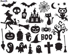 Check out our halloween svg selection for the very best in unique or custom, handmade pieces from our shops. Halloween Symbols, Halloween Templates, Halloween Stencils, Halloween Icons, Halloween Vector, Halloween Cut Outs, Halloween Printable, Image Halloween, Halloween Ghosts