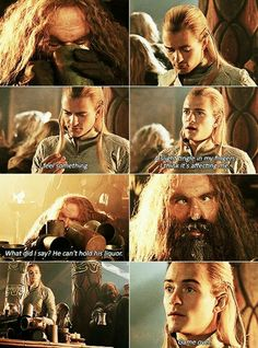 I love this scene. Legolas seems genuinely concerned for his well being when his fingers begin to tingle. And then he seems so cocky when Gimli passes out. Oh Legolas I love you! Legolas And Thranduil, Aragorn, Legolas Funny, Hobbit Funny, Fellowship Of The Ring, Lord Of The Rings, J. R. R. Tolkien, Tolkien Books, O Hobbit